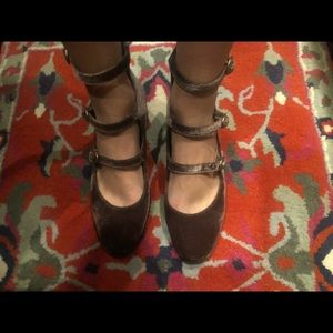 Free People block heel gray velvet Mary Janes